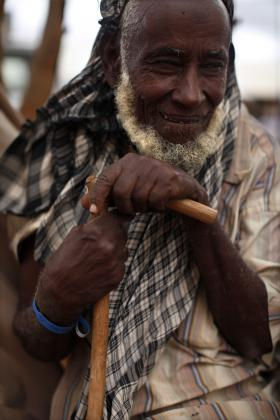 Man with his walking stick, Dadaab