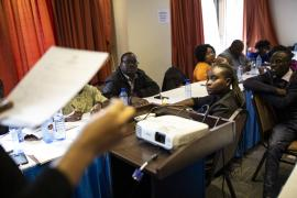 A picture of DPO representatives sitting at an advocacy training event