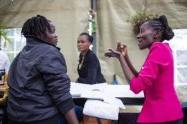"Job seekers with disabilities take part in a research session at Pallet Caffe in Nairobi as part of the ""Inclusive futures initiative"" project."