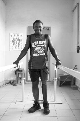 Man smiling at a rehabilitation centre, Democratic Republic of Congo